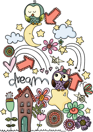 Vector illustration of a cartoon owls in dream
