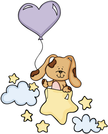 cartoon: Cute dog with balloon on stars and clouds. Illustration