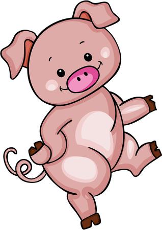 Cute pink pig Ilustração