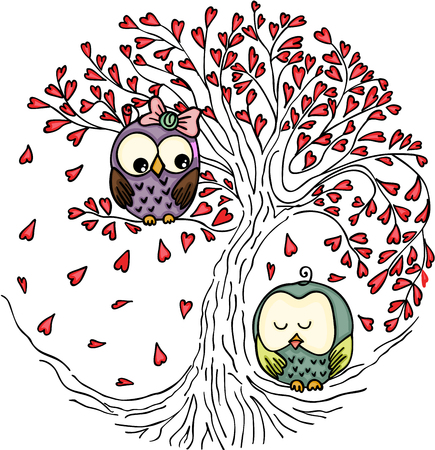 Couple owls in the love tree