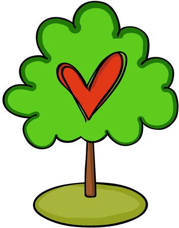 Red heart on green tree Illustration