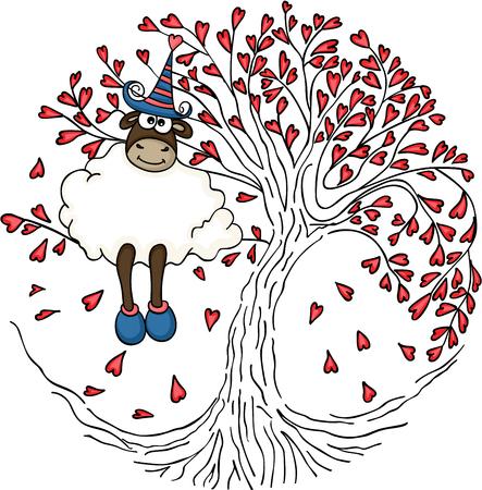 Sheep sitting in the love tree Ilustração