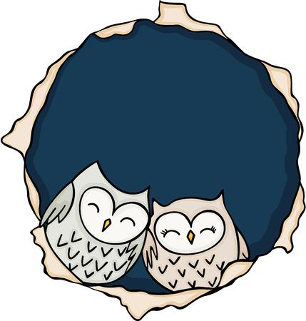 Cute couple owls inside the hole Illustration