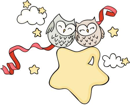Cute couple owls on star