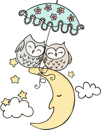 Cute couple owls on the moon