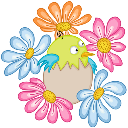 Baby bird in egg with flowers.