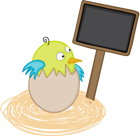 jubilation: Bird in egg nest with blank wood sign.