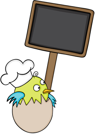 jubilation: Cook bird in egg with blank wood sign.
