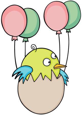 Cute baby bird in egg flying with balloons. Иллюстрация
