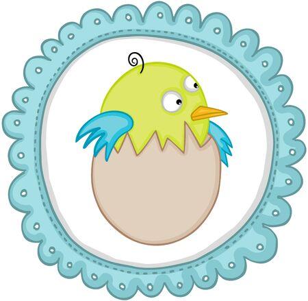 Cute baby bird in egg sticker label.