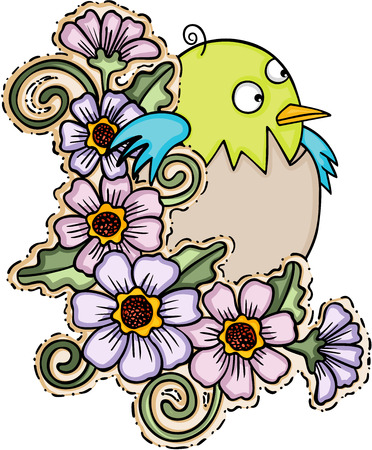 jubilation: Cute baby bird with flowers.