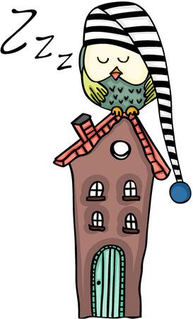 cute house: Cute owl sleeping on a house