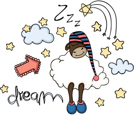 Dream cute sheep sleeping
