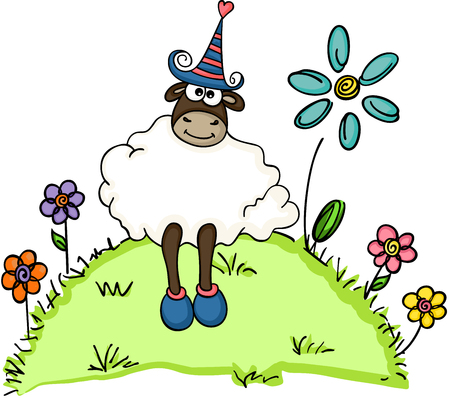 Cute sheep in a garden