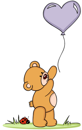 Teddy bear with balloon and ladybird Illustration