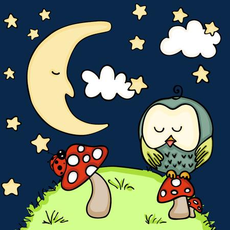 Cute owl on mushroom at night