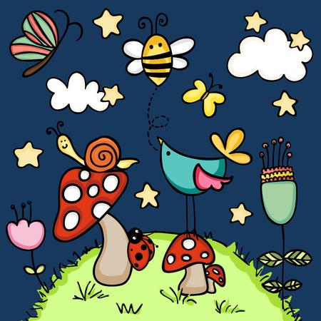 Animals in the rainforest at night Illustration