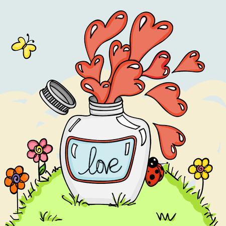 Love potion bottle in green grass background Illustration