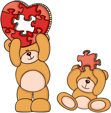 Teddy bears with heart shaped puzzle