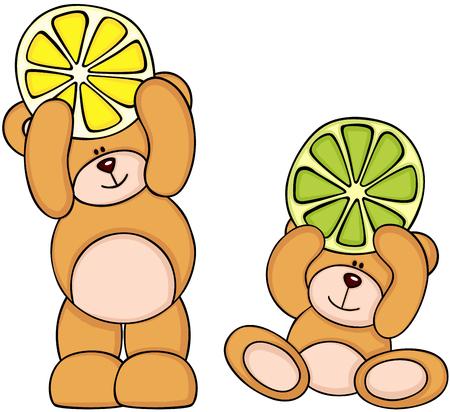 Teddy bears holding citrus fruit slices Illustration
