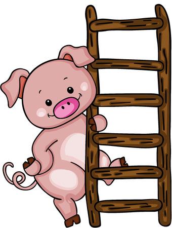 Leuk varken met ladder. Stock Illustratie