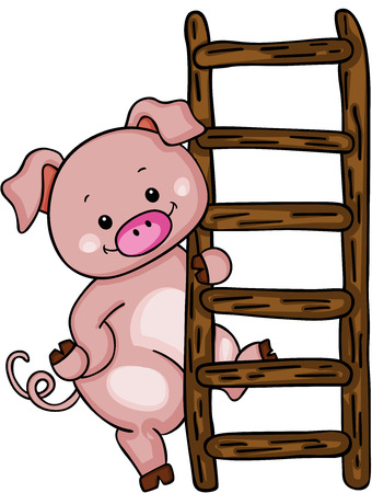 Cute pig with ladder.