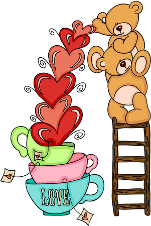Teddy bears on top of ladder with hearts love cups Çizim