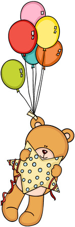 Teddy bear holding star flying with balloons