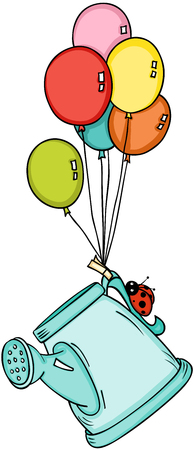 Watering can with ladybird flying with balloons Illustration