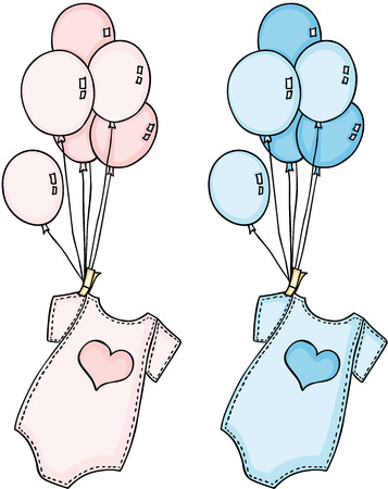 Baby onesie flying with balloons