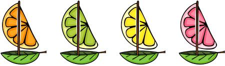 Fresh orange, grapefruit, lemon and lime boat shape Vetores