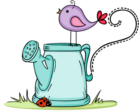Cute bird with watering can 向量圖像