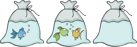 Different kind of fish in the bags