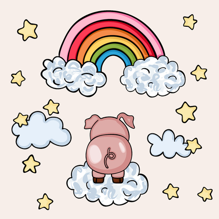 Pink pig on sky with rainbow and clouds