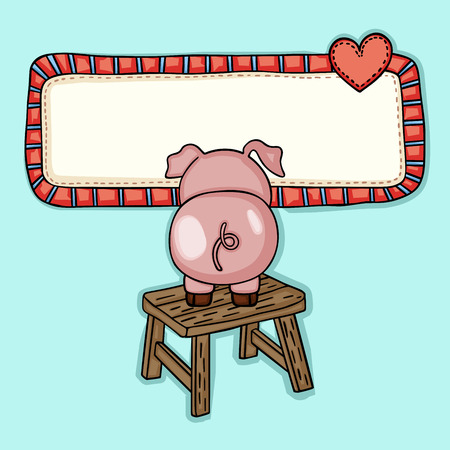 Greeting postcard with little piggy up wooden stool