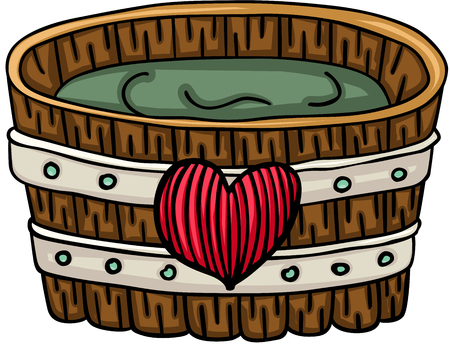 Wooden tub for a bath with heart Illustration