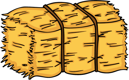 Bale of hay on white background, vector illustration.