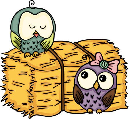 pareja comiendo: Couple owl with bale of hay vector illustration. Vectores