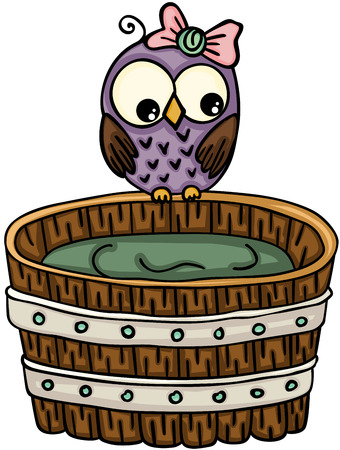 Leuke uil met houten badkuip voor een bad