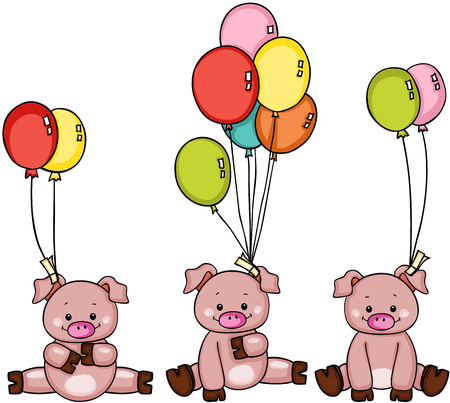 Three pigs with balloons Stock Vector - 85205545