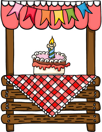 Birthday cake wooden stand for sale. Illustration
