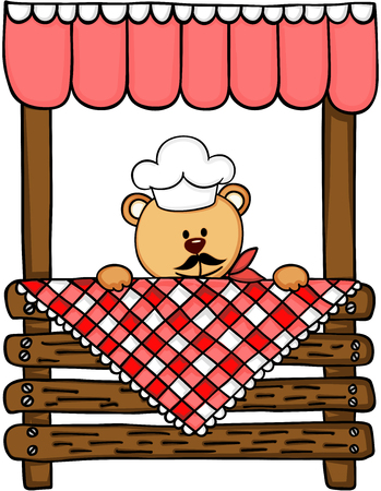 Teddy bear and wooden lemonade stand. Illustration