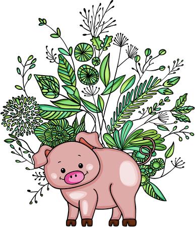 Little pig with green weeds. Ilustração