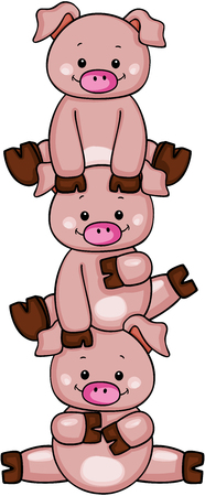 Stack of three little piggies vector illustration.