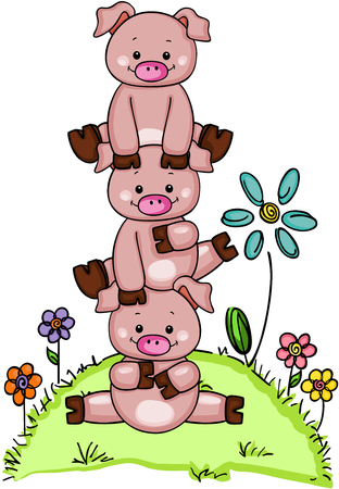 three little pigs: Stack of three little piggies in garden with flowers
