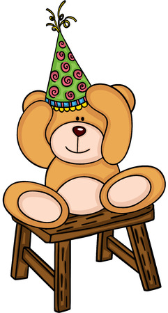 Teddy bear with birthday hat sitting on wooden stool Illustration