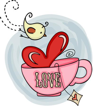 Love tea cup and bird