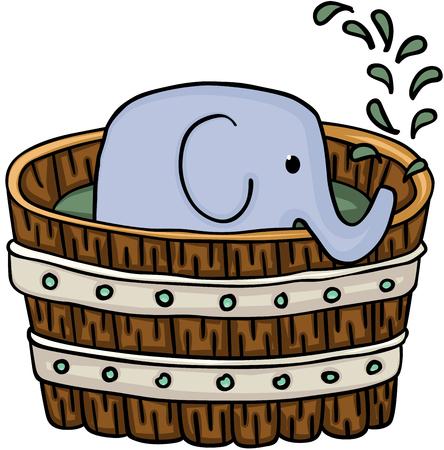 bath: Little elephant inside wooden tub for a bath