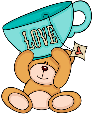 Teddy bear holding love tea cup