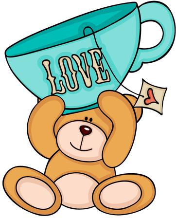 Teddy bear holding love tea cup Banco de Imagens - 85811758